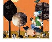 Print Piggy Back Ride Pig illustration 8x11