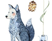 Print  Winter fox illustration 8x11