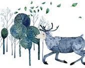 Reindeer Print  Giclee print Reindeer runs in Wood 11.7x16.5 illustration