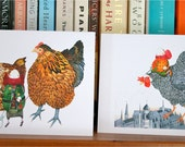 Greeting cards Chicken Card 4x6 and Flying Chicken card 5x5