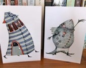Blank Greeting Cards featuring Singing Fish and Walking House 4x6