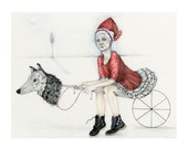 Giclee Print Red Riding Hood with Wolf Hobby Horse 8x11 SALE PRINT