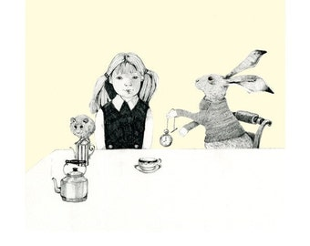 "Original pencil drawing Alice and March Hare Tea Party illustration approx 10""x10"""