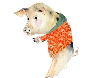 Pig Print Piggy in a fancy coat illustration 8x11