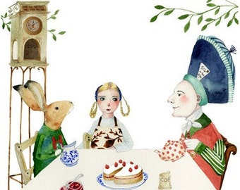 Mad Hatter Print, Alice and Hare have Tea with Mad Hatter Illustration 8x11