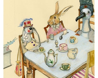 Tea party art print  illustration 8x11