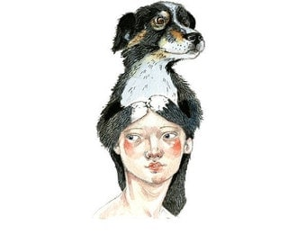 Dog Print 8x11 illustration girl and dog