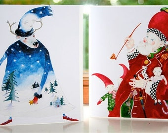 Christmas Greeting Cards, Father Christmas and Winter Deer