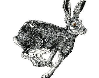 Giclee Print Running Hare 8x11 illustration