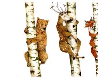 Bear, Deer, Fox, Trees illustration Print 11.7x16.5