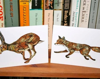 Cards Fox card Hare card greeting cards fox and Hare Fox and Hare Cards featuring Fox and Golden Hare 4x6
