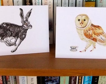 Owl and Hare Greeting Cards, Hare and Owl illustration 4x6 cards