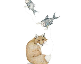 Art Fox Print Fox with Fish Balloons 8x11 illustration print home decor