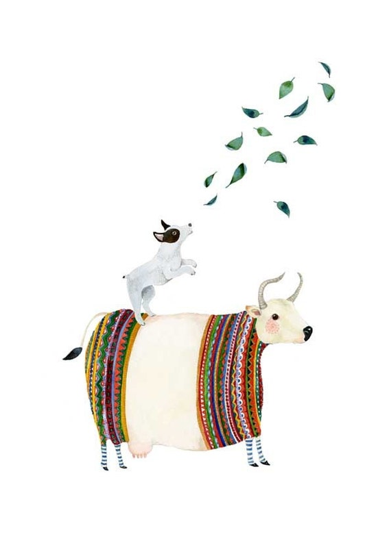 Dog Print Dog balancing on Cow barking at Leaves illustration 8x11