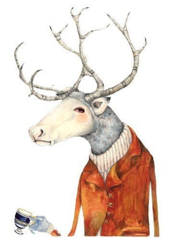 Deer  Print Deer in a jacket  Art illustration Print home decor 8x11