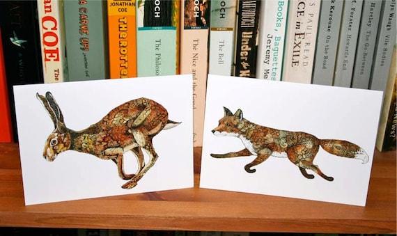 Cards Fox card Hare card greeting cards fox and Hare Fox and Hare Cards featuring Fox and Golden Hare 4x6
