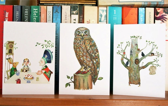 Greeting Cards. Owl, Oak Tree and Mad Hatter Tea Party. Pack of three blank cards 4x6