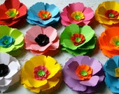 Poppy Love Paper Flowers - Assorted Colors - set of 24