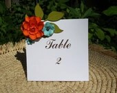 The Marigold Handmade Paper Flower  -Table number Cards -  set of 10 - Custom order available