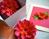 The Dahlia -  Handmade Paper Flower - Cards and Flowers gift box set