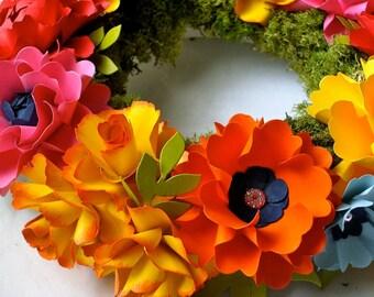 Wedding Centerpiece - Wreath  - Handmade Paper Flowers - Made to Order - Custom Colors