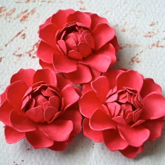 The Bella Paper Flowers - Berry - set of 3