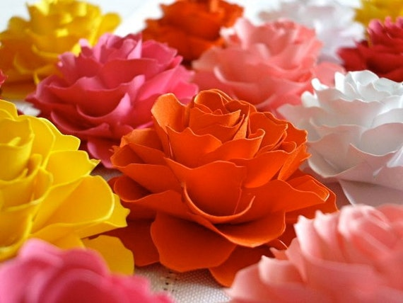 The Rosetta Paper Flowers - ASSORTED COLORS - Pack of 50 - Made To Order