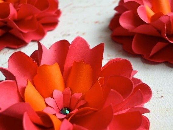 The Dahlia -  Handmade Paper Flower - Set of 10 - stems NOT included