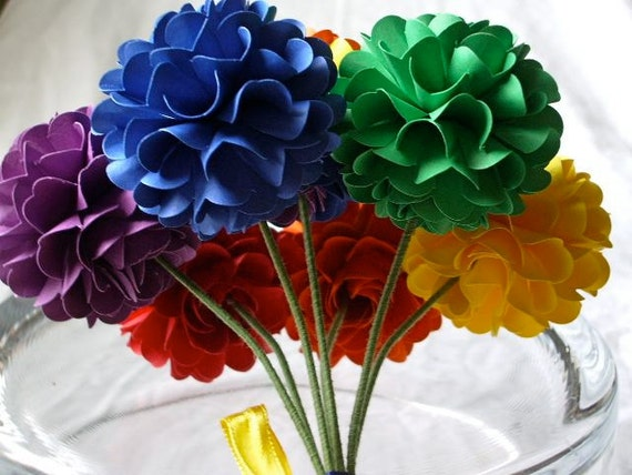Handmade Paper Flower -  Pom Pom Chrysanthemum - Rainbow color - Set of 7 - Stems Included