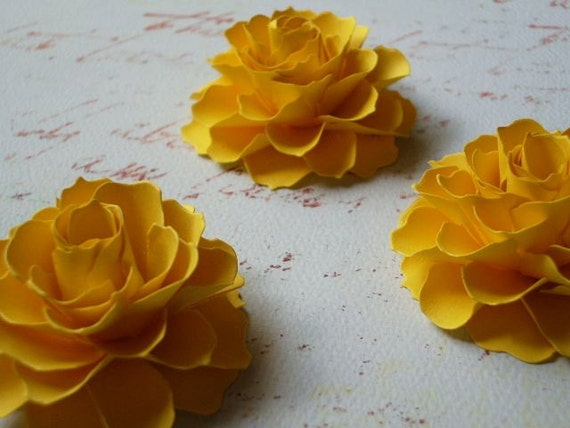The Rosetta Paper Flowers - Yellow - set of 3