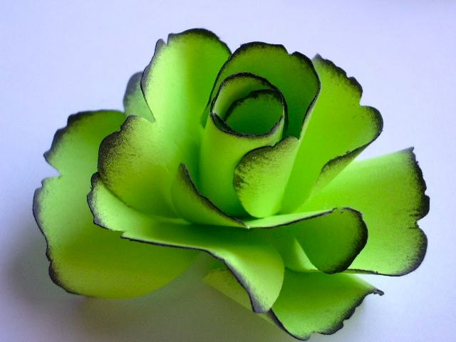The rose handmade paper flower lime green set of 5 for Green colour rose images