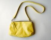 Yellow Leather Bag - Small Traveler Messenger Purse - Dijon