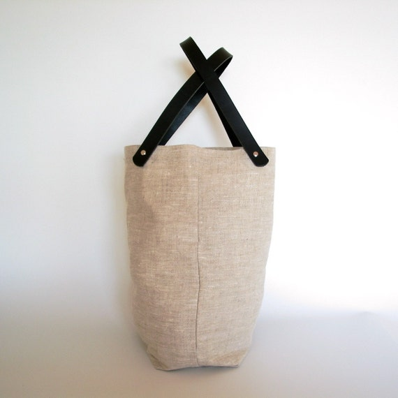 Organic Linen Canvas Tote - Natural - Black Leather Straps