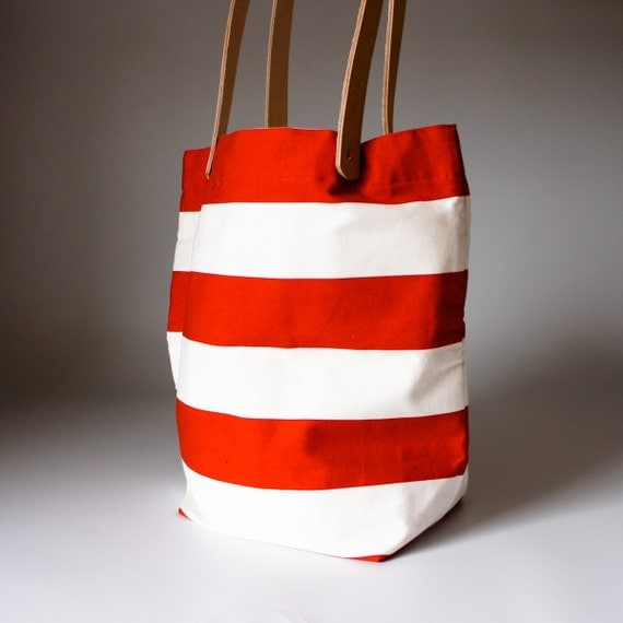 Striped Tokyo Tote - Red and White Horizontal Wide Stripe  - Natural Leather Straps