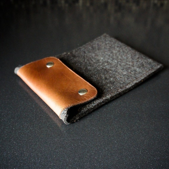 Kindle Sleeve -Truffle Brown Wool Felt and Brown Leather - Handmade Reader Sleeves by Ribandhull on Etsy
