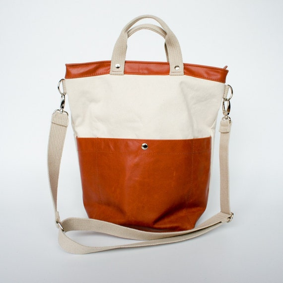 Technical Tote - Organic Canvas and Sienna Brown Leather