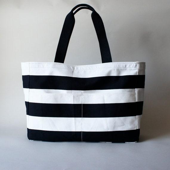 Big Tote - Black and White Stripe Tote