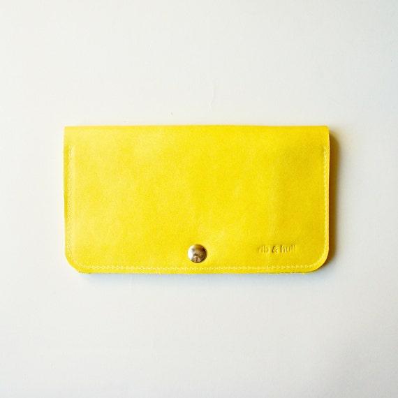 Leather Women's Wallet - Raw Purse - Dijon Yellow