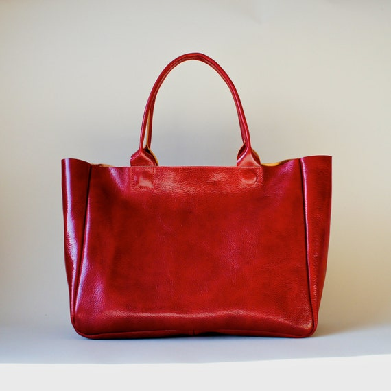 Red Leather Bag - Heirloom Tote - Red Full Grain Leather