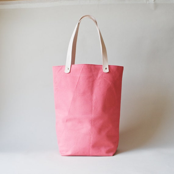 Organic Canvas Tote with Leather Straps - Coral Tokyo Tote