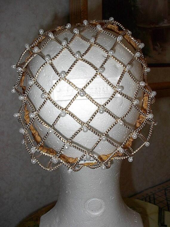 Renaissance Corded NEW Gold Caul SNOOD EverAfter,Wedding,Costume Bun Cover
