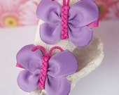 Bright Purple and Pink Butterfly Bows- Perfect for Pigtails