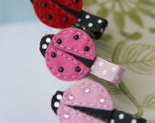 Ladybug Sparkle Hair Clip in Hot Pink, Pink, or Red- Your Choice