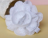 White Eyelet Lace Flower Hair Clip- Ruffles and Frills- Cute with Blue Jeans