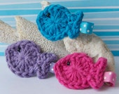 You Choose TWO Crocheted Fish Clips- Choose from a Rainbow of Colors