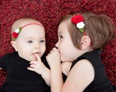 Red and White Felt Flower Headbands for Big and Little Sister- Coordinate for Holiday Pictures - MyLittlePixies