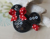 Black and Red Sequin Mouse Ears Clip- Mickey Minnie Mouse Inspired Hair Bow- Perfect for Disney Trips