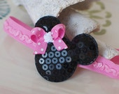 PINK Bow Mouse Ears Headband- Minnie Mouse Inspired Perfect for Disney Trips