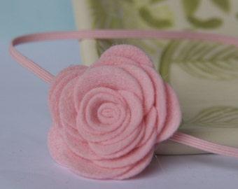 Baby Pink Simple Felt Flower Skinny Headband