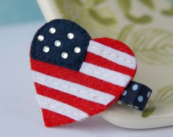 American Flag Felt Hair Clip in Red White and Blue and Bling for the 4th of July